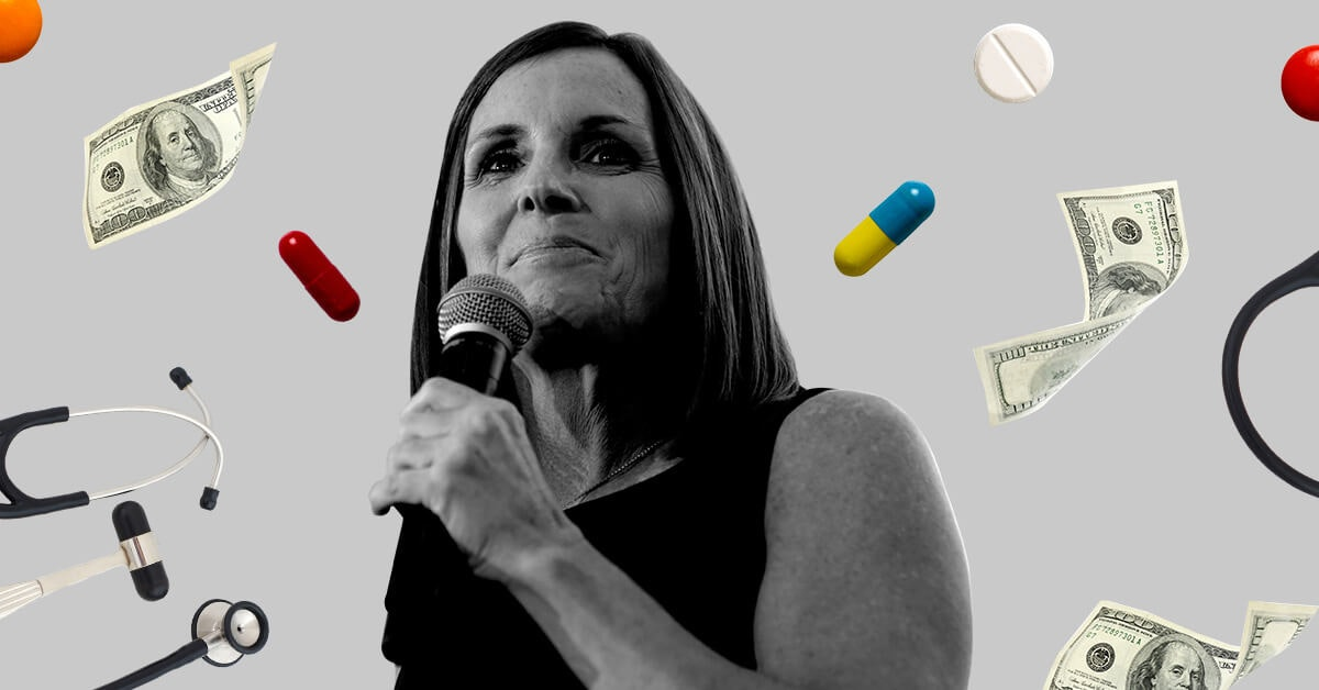 Sen. Martha McSally surrounded by pills and dollar signs