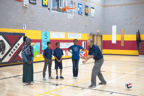 Jeff Golner (right), the CEO/President of STEM Sports, said his lesson plans are being used by parents and children in 47 states across the country. He's combined education with physical activity during the school shutdown, ensuring children remain active and healthy. (Credit/STEM Sports)