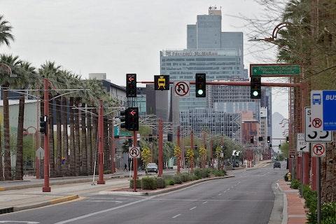 downtown Phoenix roads looking empty