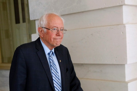 Democratic presidential candidate Sen. Bernie Sanders, I-Vt., departs Capitol Hill in Washington, Wednesday, March 18, 2020, after the Senate passed a second coronavirus response bill. (AP Photo/Patrick Semansky)