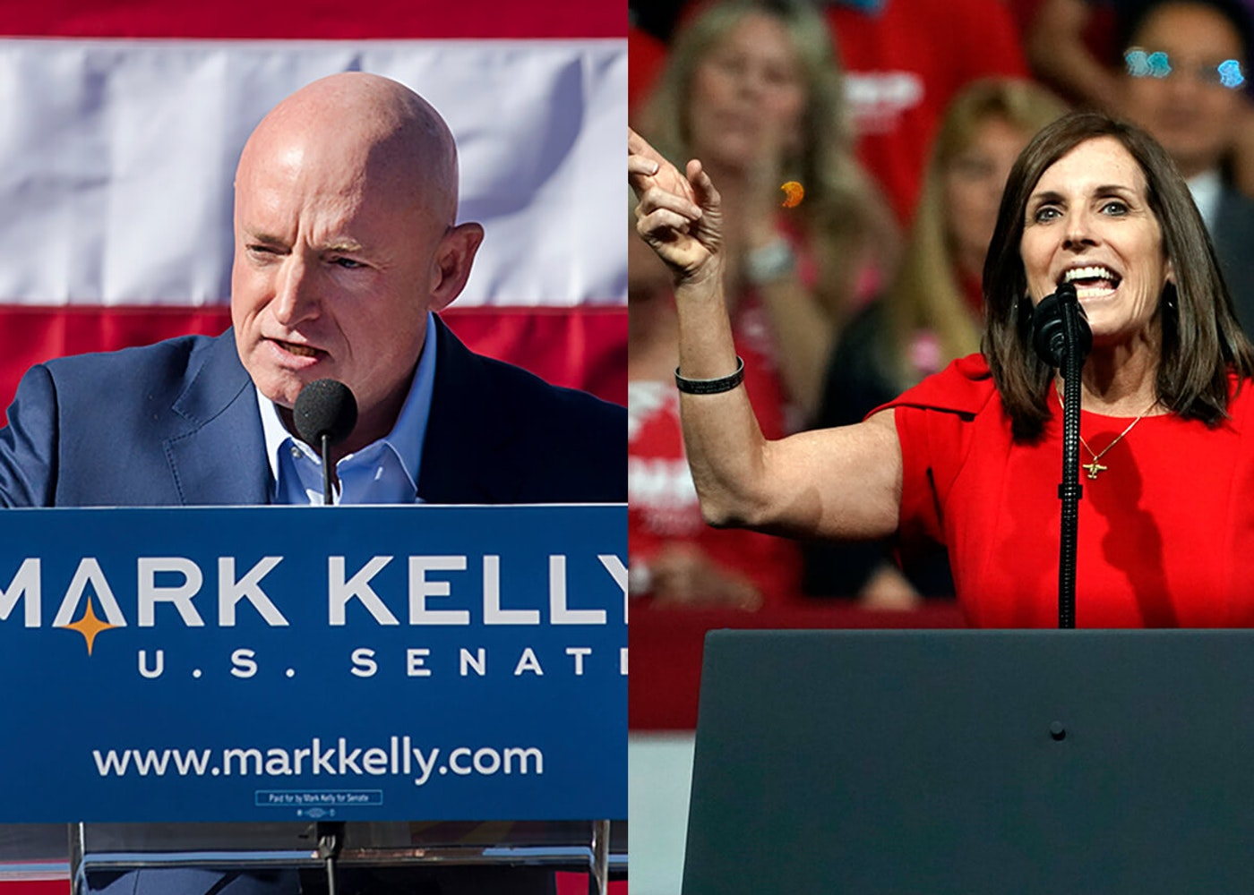 Mrk Kalley and Martha McSally speaking at podiums