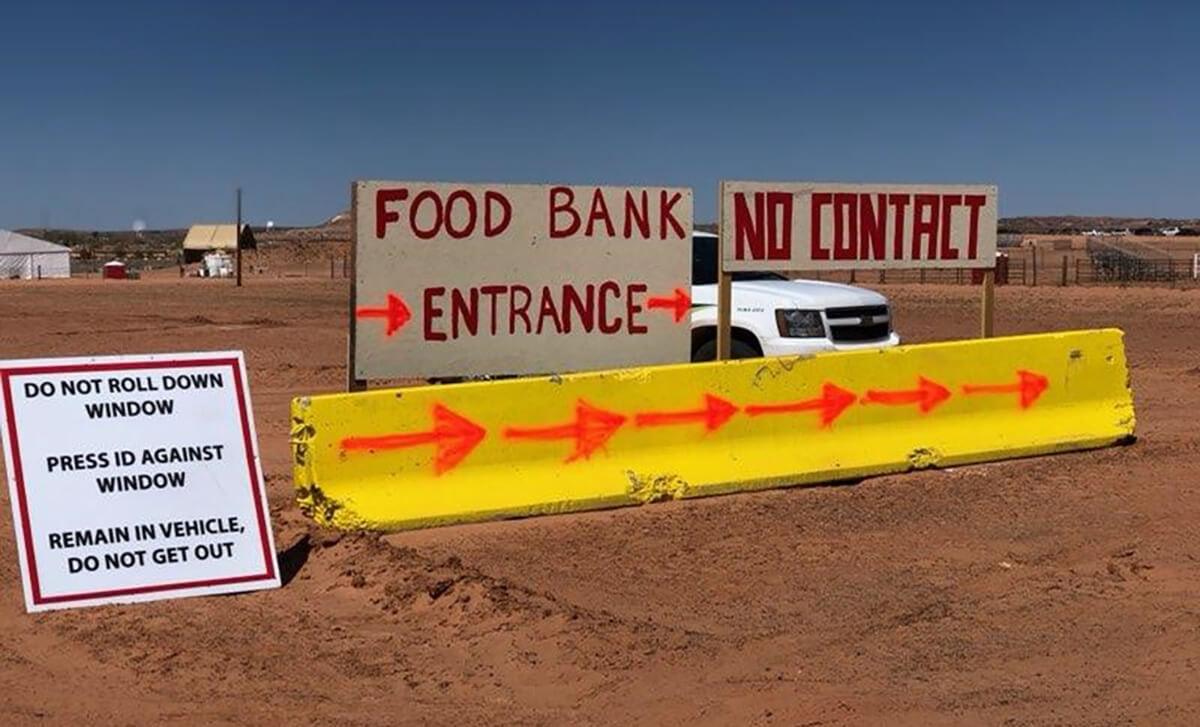 signs showing where to go for food bank
