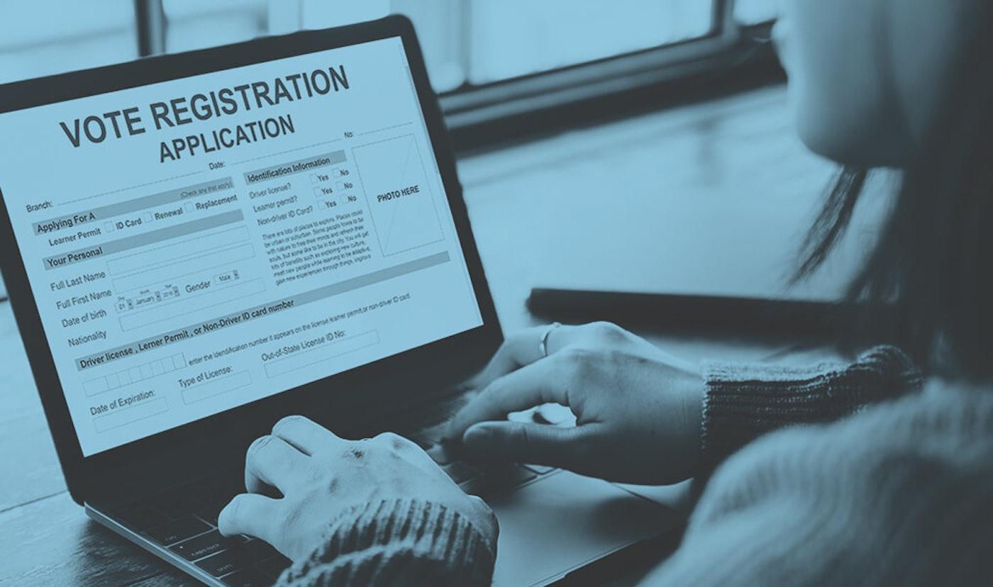 person registering to vote online
