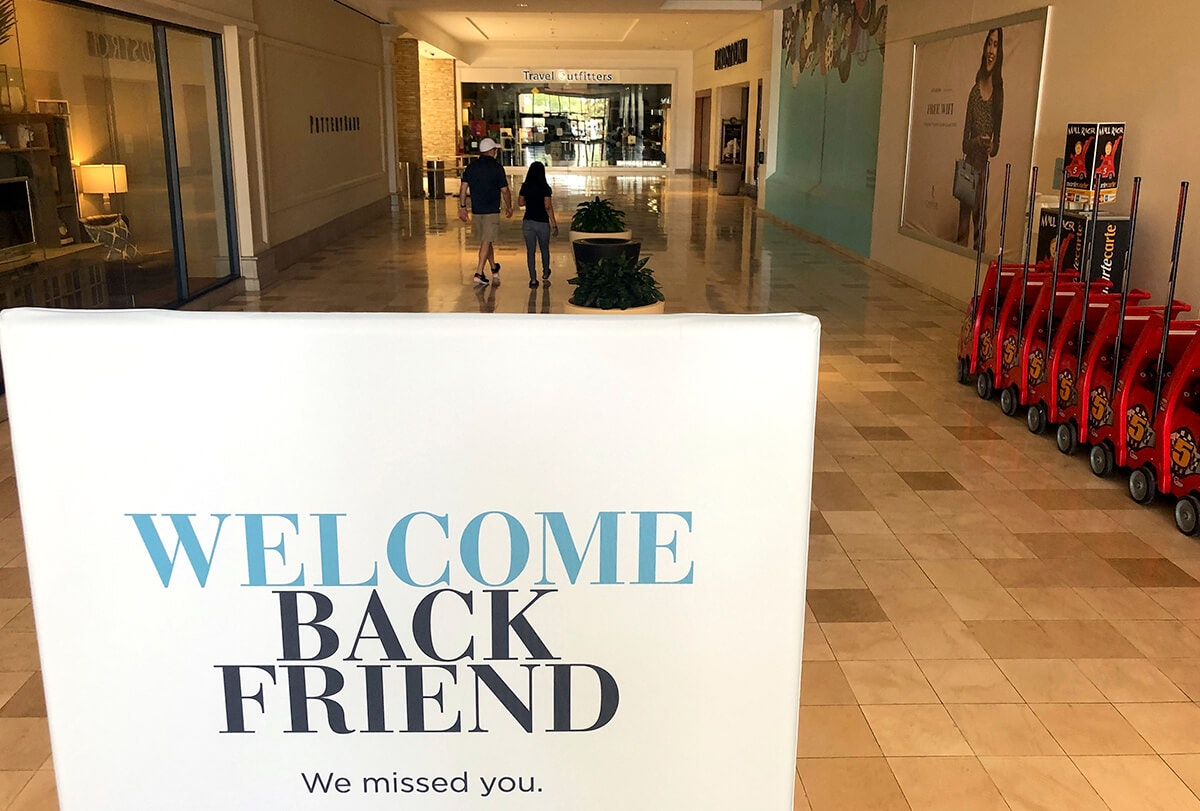 """sign saying """"welcome back friend"""" in Chandler mall"""