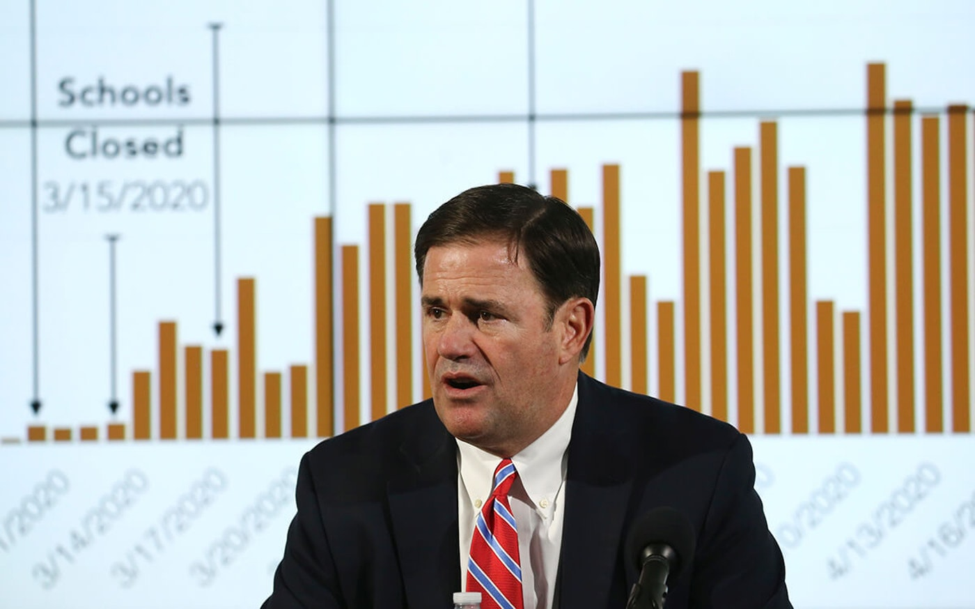 Gov. Ducey sitting in front of a graph of coronavirus-related numbers
