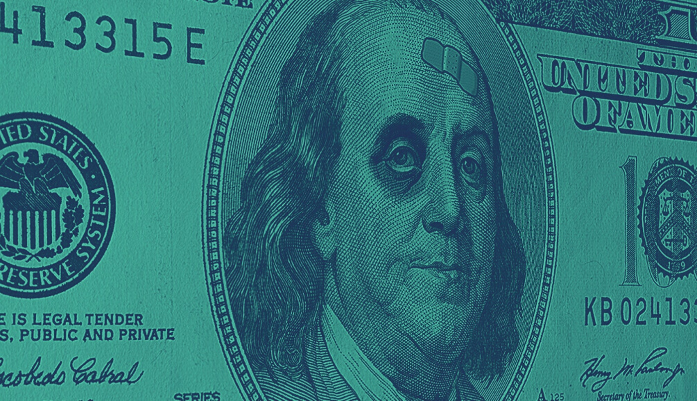 photo of 100 dollar bill showing Ben Franklin with bruised eye