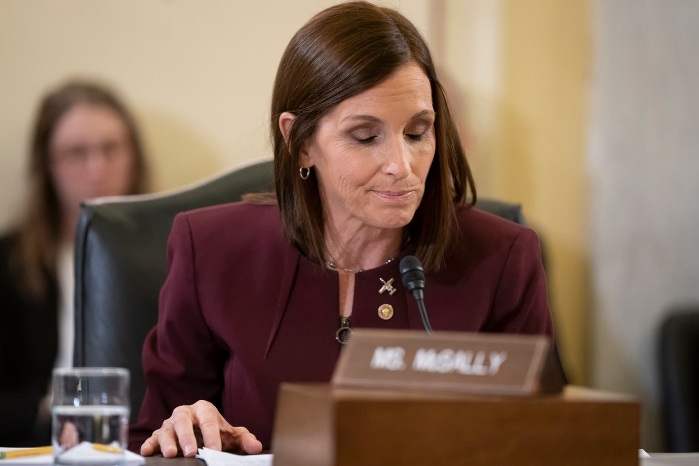 During a hearing by the Senate Armed Services Subcommittee on Personnel about prevention and response to sexual assault in the military, Sen. Martha McSally, R-Ariz., recounts her own experience while serving as a colonel in the Air Force, on Capitol Hill in Washington, Wednesday, March 6, 2019. McSally, the first female fighter pilot to fly in combat, says she was raped in the Air Force by superior officer. (AP Photo/J. Scott Applewhite)