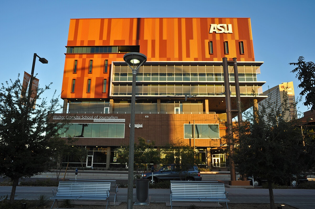 front of ASU's Cronkite School