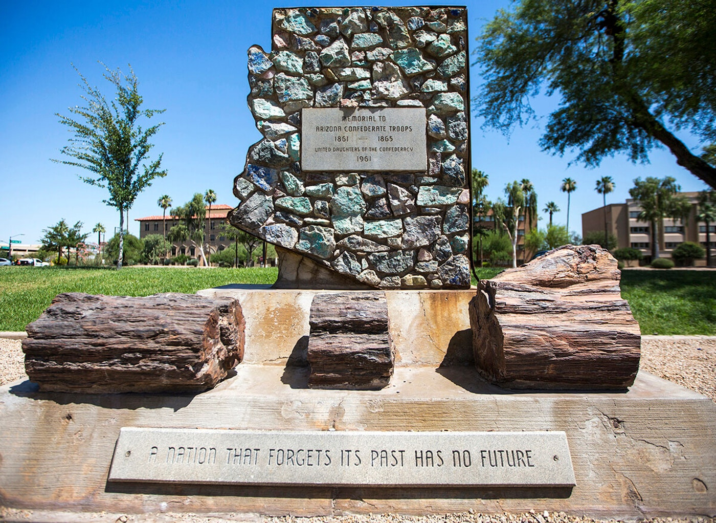 Memorial to Confederate soldiers outside Arizona's Capitol building