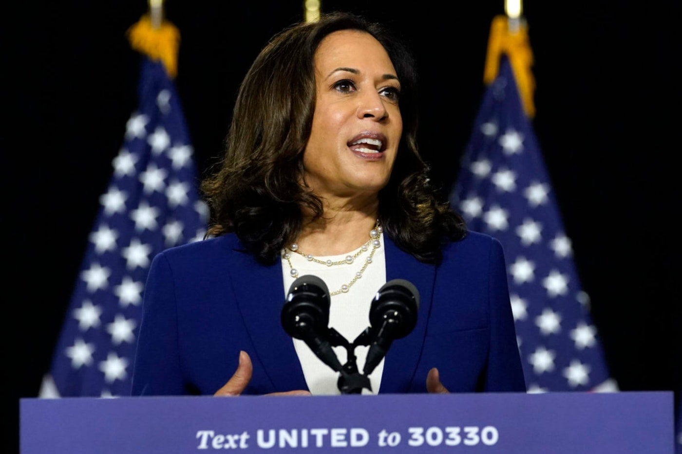 Sen. Kamala Harris, D-Calif., speaks after Democratic presidential candidate former Vice President Joe Biden introduced her as his running mate during a campaign event at Alexis Dupont High School in Wilmington, DE. (AP Photo/Carolyn Kaster)