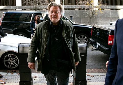 """FILE - In this Nov. 8, 2019 file photo, former White House strategist Steve Bannon arrives to testify at the trial of Roger Stone, at federal court in Washington. Bannon was arrested Thursday, Aug. 20, 2020, on charges that he and three others ripped off donors to an online fundraising scheme """"We Build The Wall."""" The charges were contained in an indictment unsealed in Manhattan federal court.  (AP Photo/Al Drago, File)"""