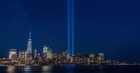 The 9/11 Tribute in Light over New York City (Shutterstock).