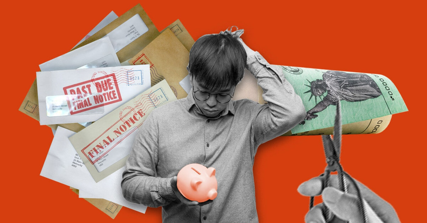 graphic of young boy looking at piggy bank surrounded by photos of bills