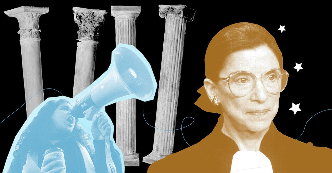 Justice Ginsburg's passing this month has women activists thinking about how to best continue her legacy (Graphic by Desirée Tapia for COURIER)