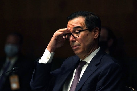 Steven T. Mnuchin, Secretary, Department of the Treasury during the Senate's Committee on Banking, Housing, and Urban Affairs hearing examining the quarterly CARES Act report to Congress on September 24, 2020 in Washington, DC. (Photo by Toni L. Sandys-Pool/Getty Images)