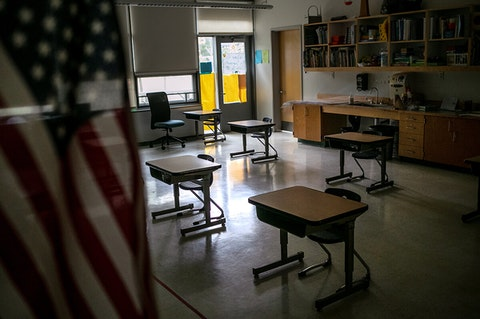 dark, empty classroom