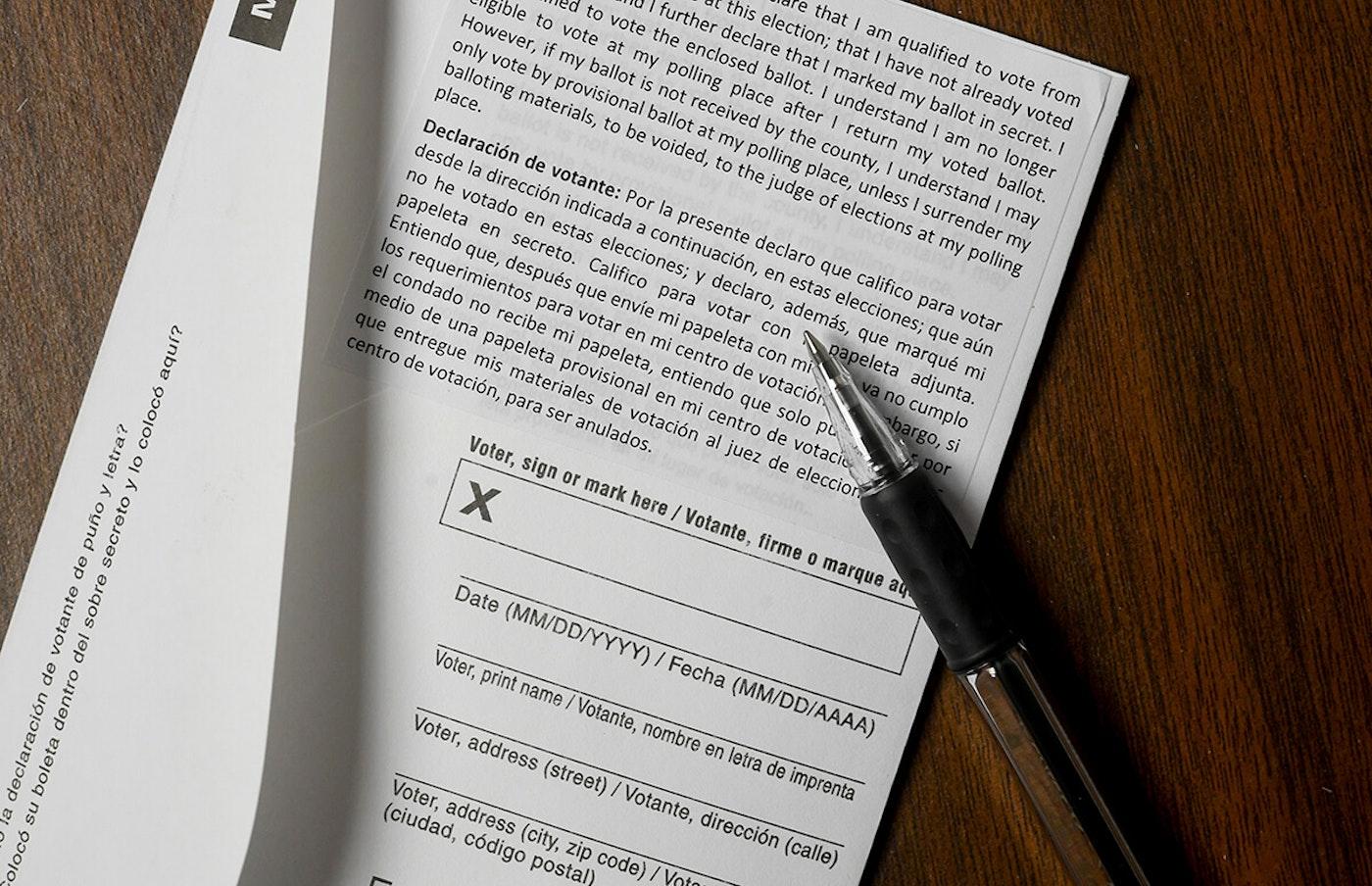 close-up up place for signature on ballot affidavit