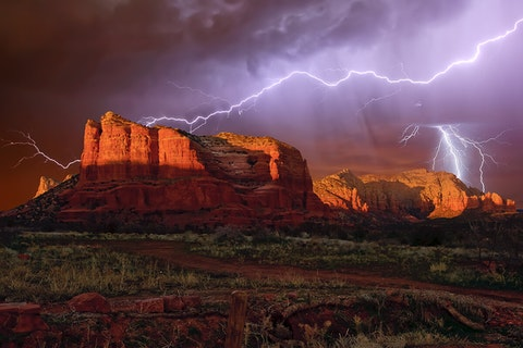 lightning above Courthouse Buttes near Sedona, AZ