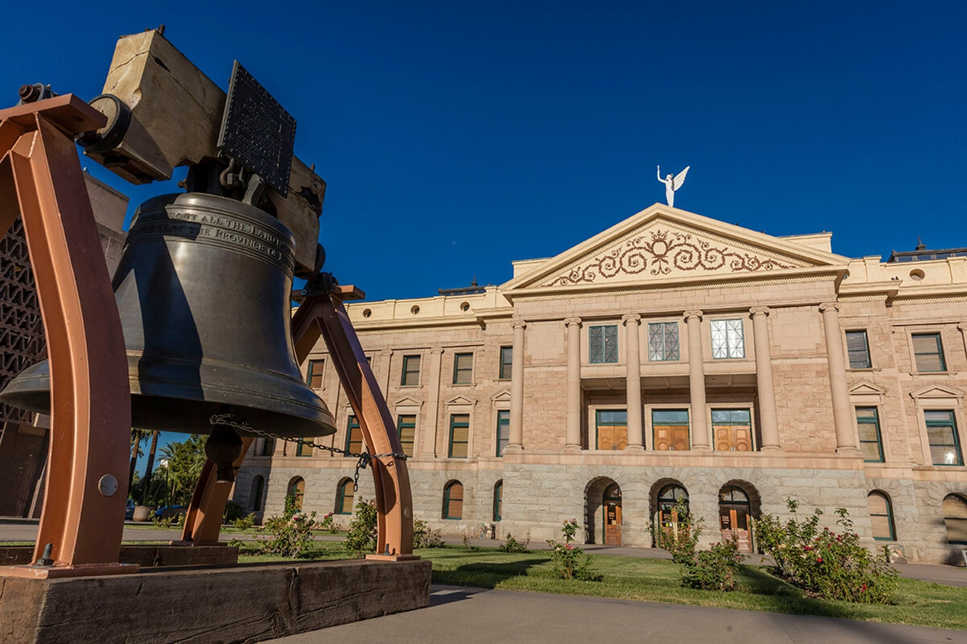 phoenix replica liberty bell outside of the Arizona state Capitol building