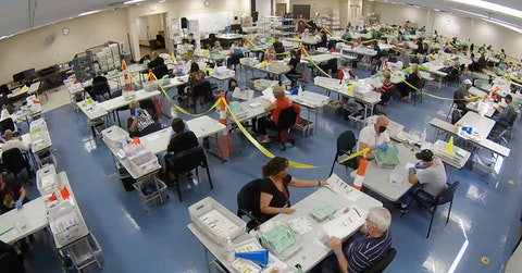 Image courtesy The Maricopa County Elections Department ballot processing livestream.