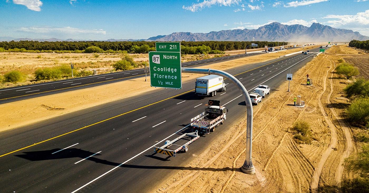 Interstate 10 between Eloy and Picacho Peak, in Tucson, Ariz.