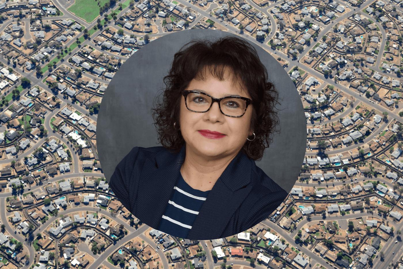 headshot of Patricia Garcia Duarte superimposed over an aerial view of a Phoenix neighborhood