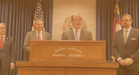 Senate President Pro Tempore Phil Berger, at the podium. (Image via screenshot)