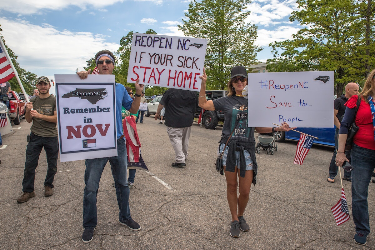 Protesters associated with the controversial 'Reopen NC' group in Raleigh in April. (Image for Cardinal & Pine by Grant Baldwin)