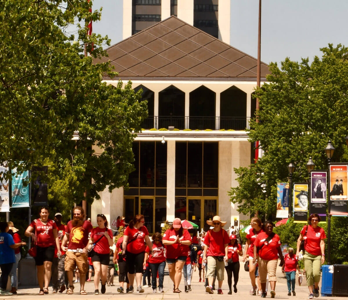 In this May 2019 file photo, teachers march to protest school funding shortfalls in North Carolina. (Image via Shutterstock)