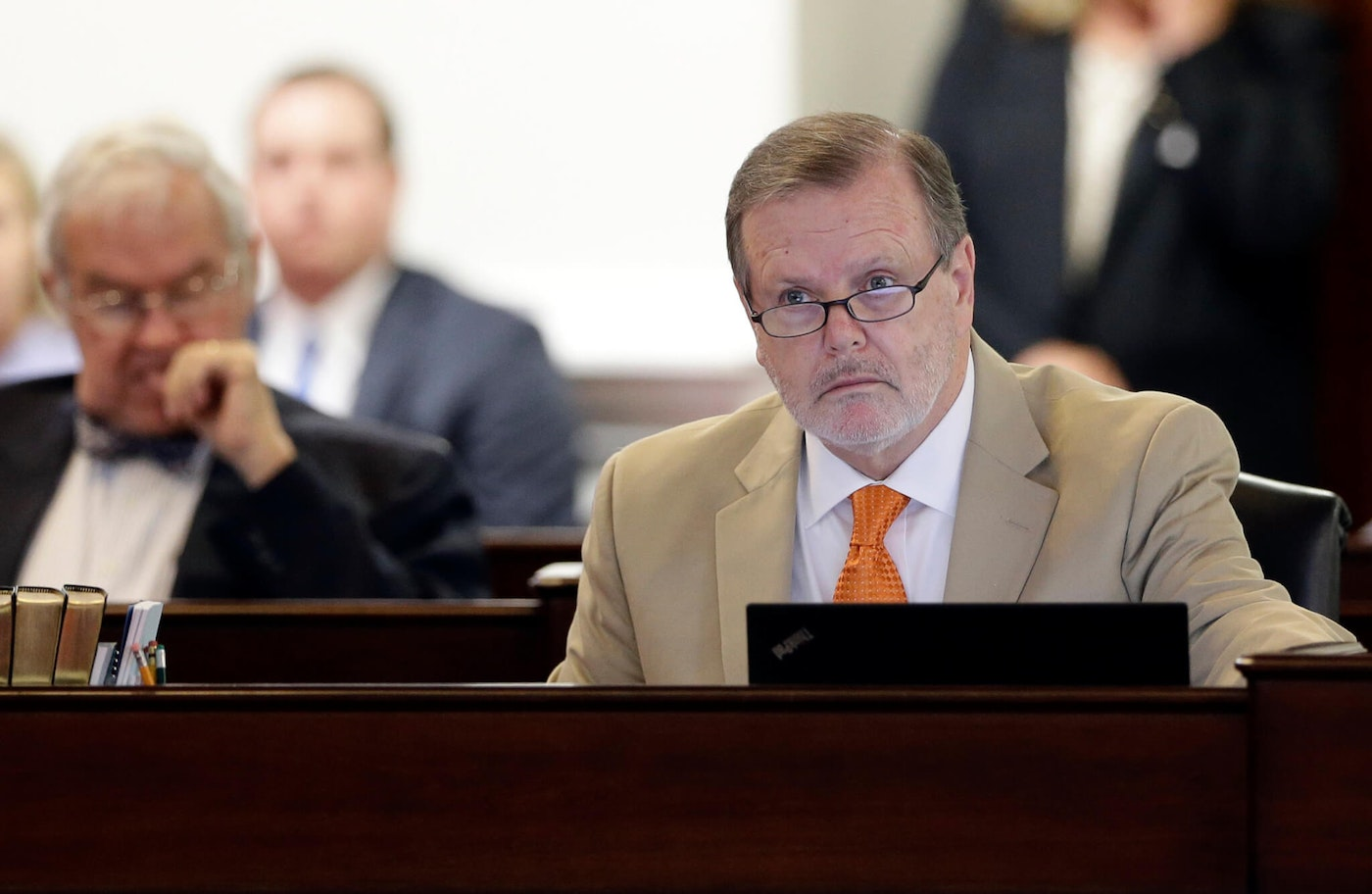 NC Senate leader Phil Berger in a 2016 file photo. A NC teacher says Berger and House Speaker Tim Moore have overseen a punishing decade for public education. She's calling on North Carolinians to vote as if their schools are at stake. (AP Photo/Gerry Broome)