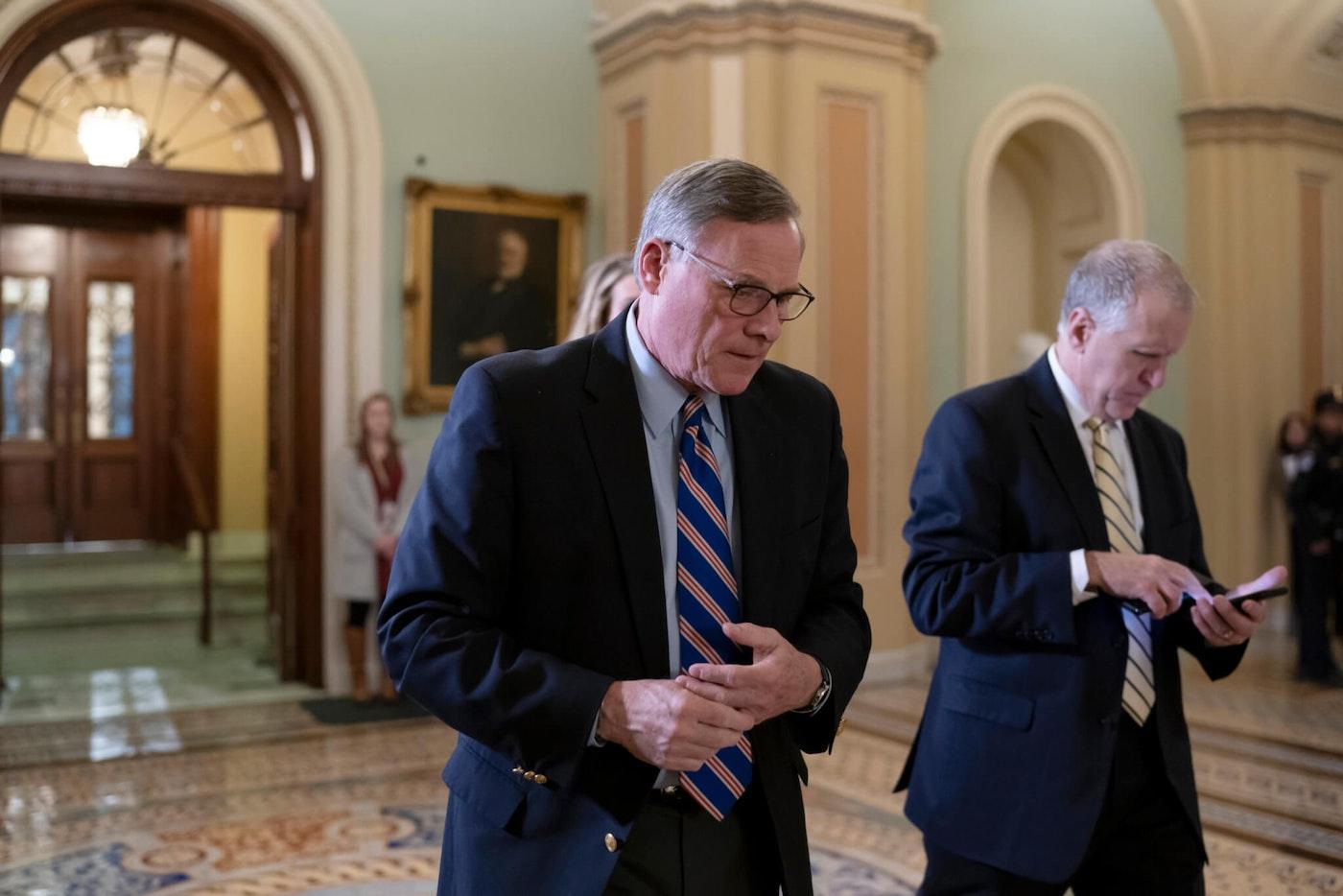 Sen. Richard Burr, R-N.C., left, and Sen. Thom Tillis, R-N.C., in January 2020. (AP Photo/J. Scott Applewhite)