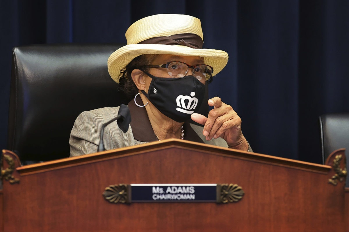 US Congresswoman Alma Adams, D-N.C., wears a face mask during a House committee meeting in May. (Chip Somodevilla/Pool via AP)
