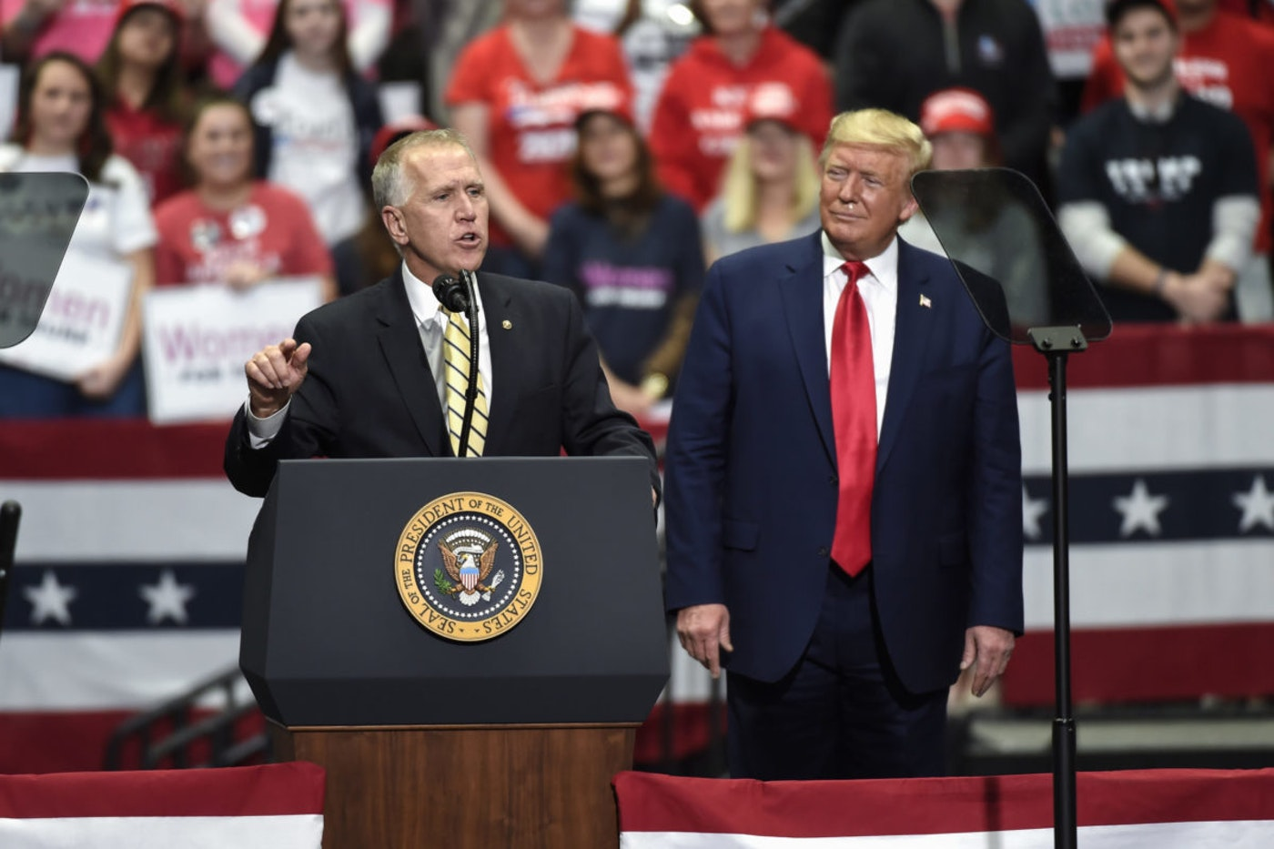 In this March 2, 2020, file photo Sen. Thom Tillis, R-N.C., speaks during a campaign rally for President Donald Trump in Charlotte, N.C. Tillis, facing a competitive North Carolina reelection contest, will likely be challenged in Tuesday's debate with Cal Cunningham on his support for filling a US Supreme Court seat in an election year. (AP Photo/Mike McCarn, File)