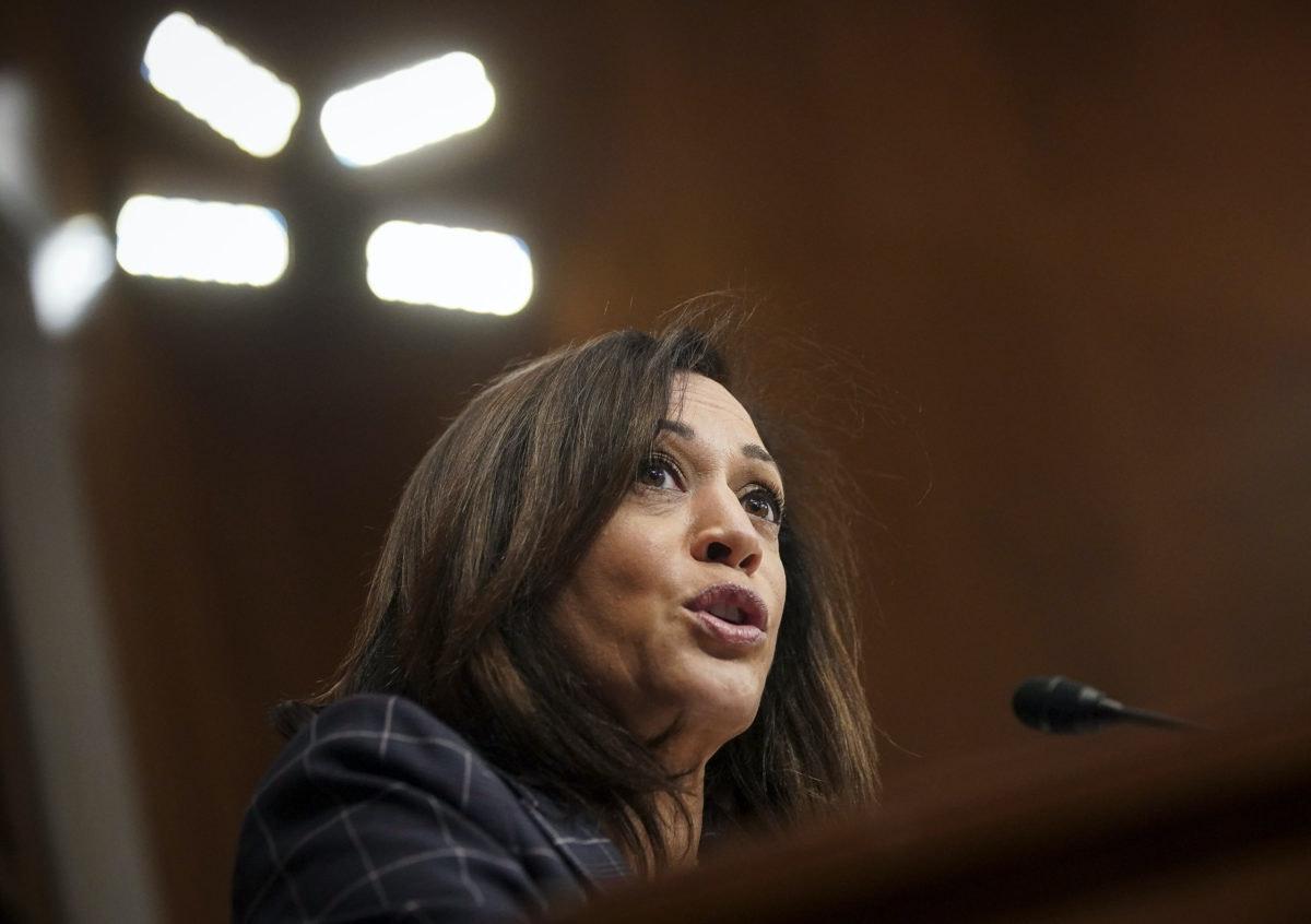 Sen. Kamala Harris, D-Calif., speaks in a US Senate committee in June on Capitol Hill in Washington. (Alexander Drago/Pool via AP)