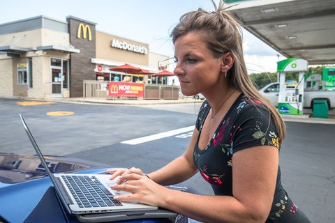 Not wanting to fail her pharmacy technician training while without housing, student Stephanie Mount parked outside a McDonald's in Indian Trail to use the WiFi. Image via Grant Baldwin.