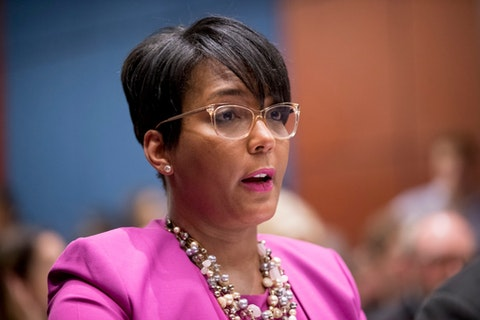 FILE - In this July 17, 2019, file photo, Atlanta Mayor Keisha Lance Bottoms speaks during a Senate Democrats' Special Committee on the Climate Crisis on Capitol Hill in Washington. Neither public rivals nor personal friends, Bottoms and Stacey Abrams spent years climbing parallel ladders from nearby outposts at Atlanta City Hall and the Georgia Capitol. Now the Atlanta mayor and the former Georgia governor candidate find themselves at the same political intersection on Joe Biden's list of potential running mates. (AP Photo/Andrew Harnik, File)