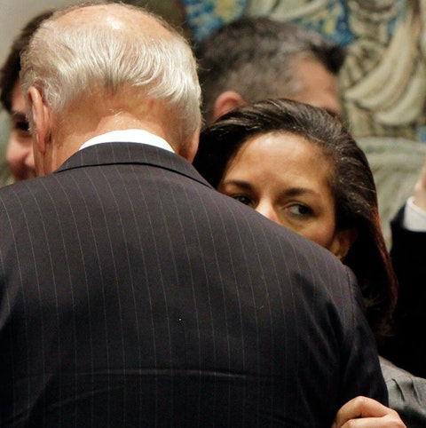Susan Rice, the U.S. ambassador to the U.N., whispers in the ear of Vice President Joe Biden in the United Nations Security Council,  Wednesday, Dec. 15, 2010. Rice is on the shortlist of potential running mates for Biden (AP Photo)