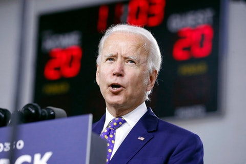 """Democratic presidential candidate former Vice President Joe Biden speaks at a campaign event at the William """"Hicks"""" Anderson Community Center in Wilmington, Del., Tuesday, July 28, 2020. (AP Photo/Andrew Harnik)"""