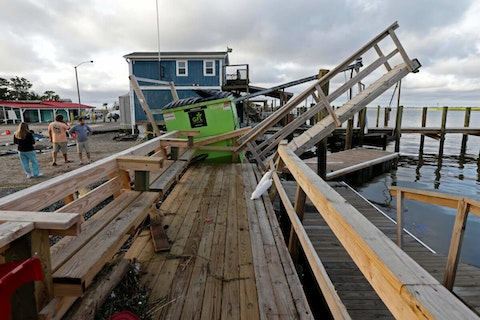 A waterfront dock shows damage following the effects of Hurricane Isaias in Southport, N.C., Tuesday, Aug. 4, 2020. The 2021 hurricane season is off to a fast start. Here are some tips to prepare for any storms ahead. (AP Photo/Gerry Broome)