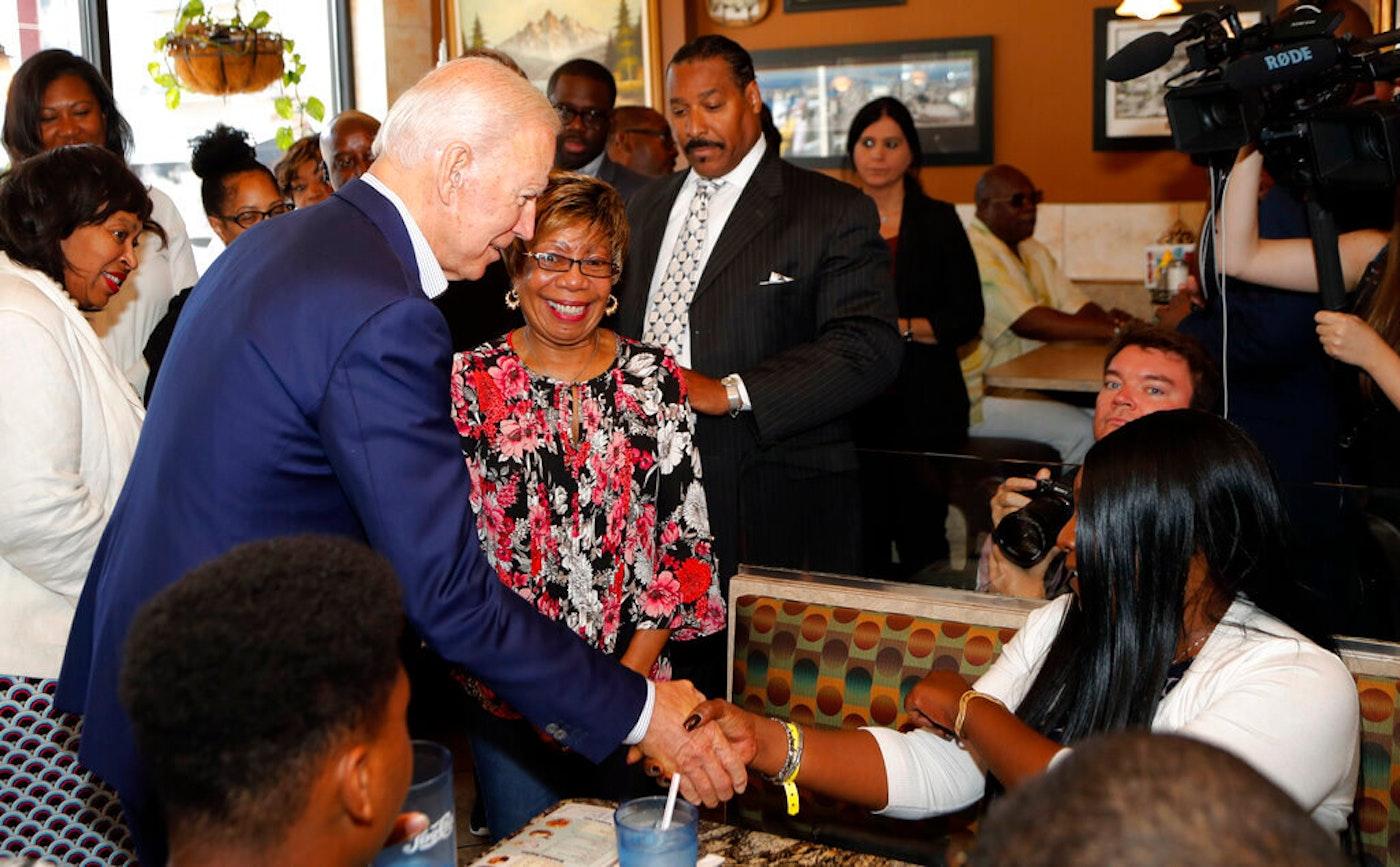 Joe Biden with supporters