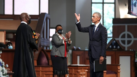 Former President Barack Obama acknowledges the crowd after addressing services for the late Rep. John Lewis, D-Ga., at Ebenezer Baptist Church in Atlanta, Thursday, July 30, 2020.  (Image via AP, Pool)