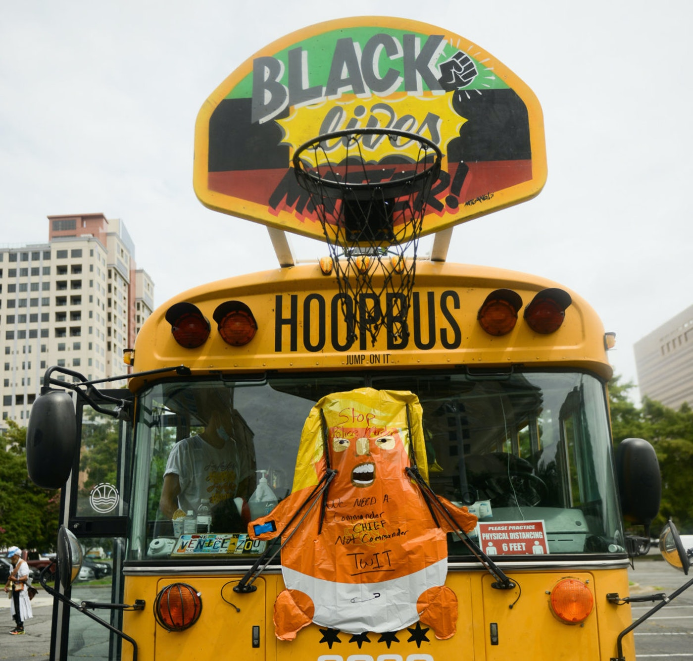 The anti-racist 'Hoop Bus' arrived in Charlotte in time for the Republican National Convention in August. (Image via Tyler Thompson)
