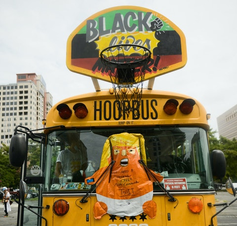 The anti-racist 'Hoop Bus' arrived in Charlotte in time for the Republican National Convention this week. (Image via Tyler Thompson)