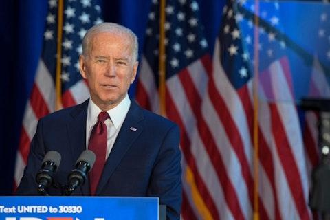 Democratic presidential candidate Joe Biden speaks in New York in January. (Image via Shutterstock)
