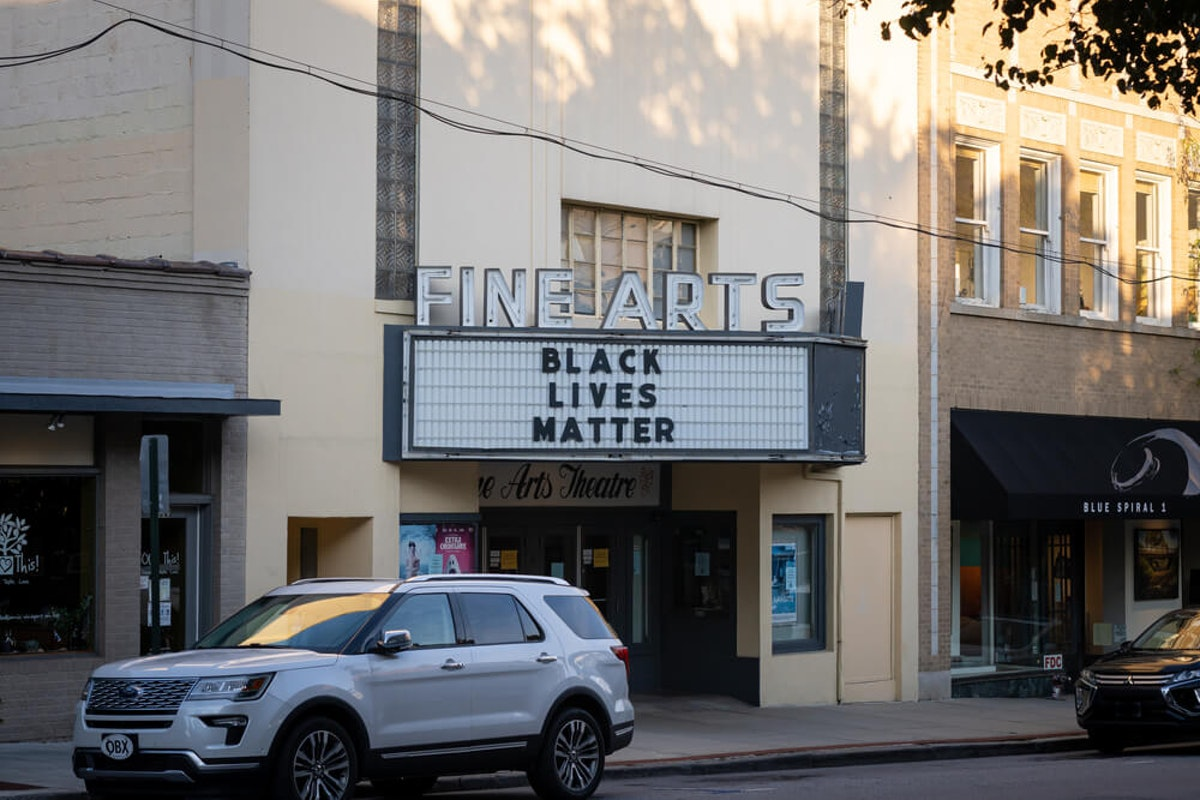 A 'Black Lives Matter' marquee in Asheville, NC in July. The city has been the center of demonstrations after local officials voted against immediately defunding the police. (Image via Shutterstock)