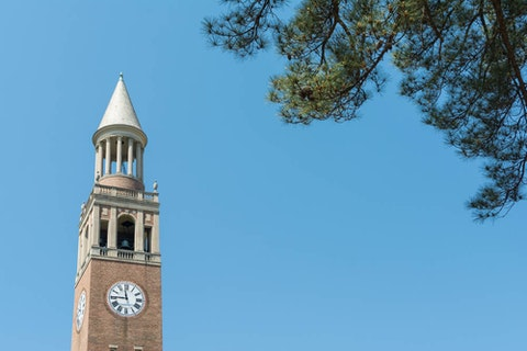 The bell tower at UNC-Chapel Hill. NC's flagship university jettisoned in-person classes after several coronavirus hotspots popped up on campus this month. (Image via Shutterstock)