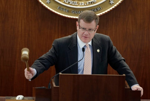 FILE - In this Sept. 17, 2015 file photo, House Speaker Tim Moore, R-Cleveland, calls the session to order at the North Carolina General Assembly in Raleigh, N.C. Some educators are asking lawmakers for a waiver on standardized testing this year after another year upended by coronavirus. (AP Photo/Gerry Broome)