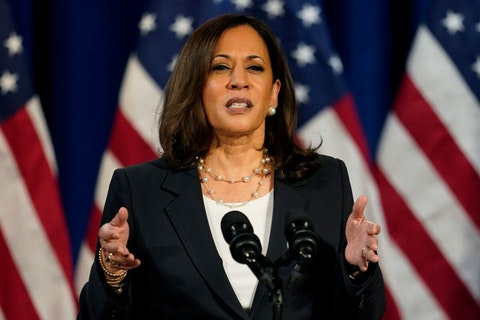 Democratic vice presidential candidate Sen. Kamala Harris, D-Calif., speaks in Washington, Thursday, Aug. 27, 2020. (AP Photo/Carolyn Kaster)