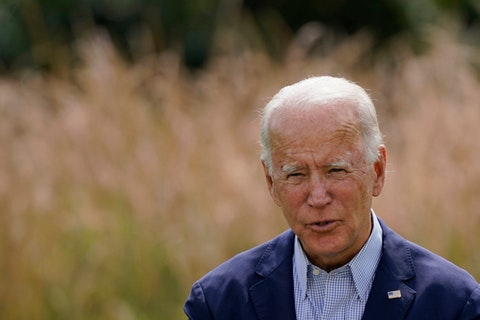 Democratic presidential candidate and former Vice President Joe Biden speaks Monday, Sept. 14, 2020, in Wilmington, Del. (AP Photo/Patrick Semansky)