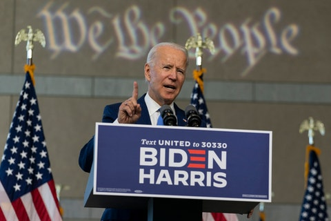 """Democratic presidential candidate and former Vice President Joe Biden, who is pushing an aggressive renewable energy plan, called President Donald Trump a """"climate arsonist"""" this year. (AP Photo/Carolyn Kaster)"""